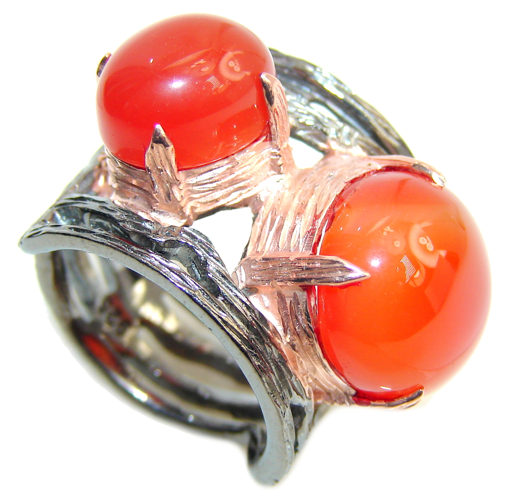 Amazing Orange AAA Carnelian, Gold & Rhodium PLated Sterling Silver ring s. 6 1/2