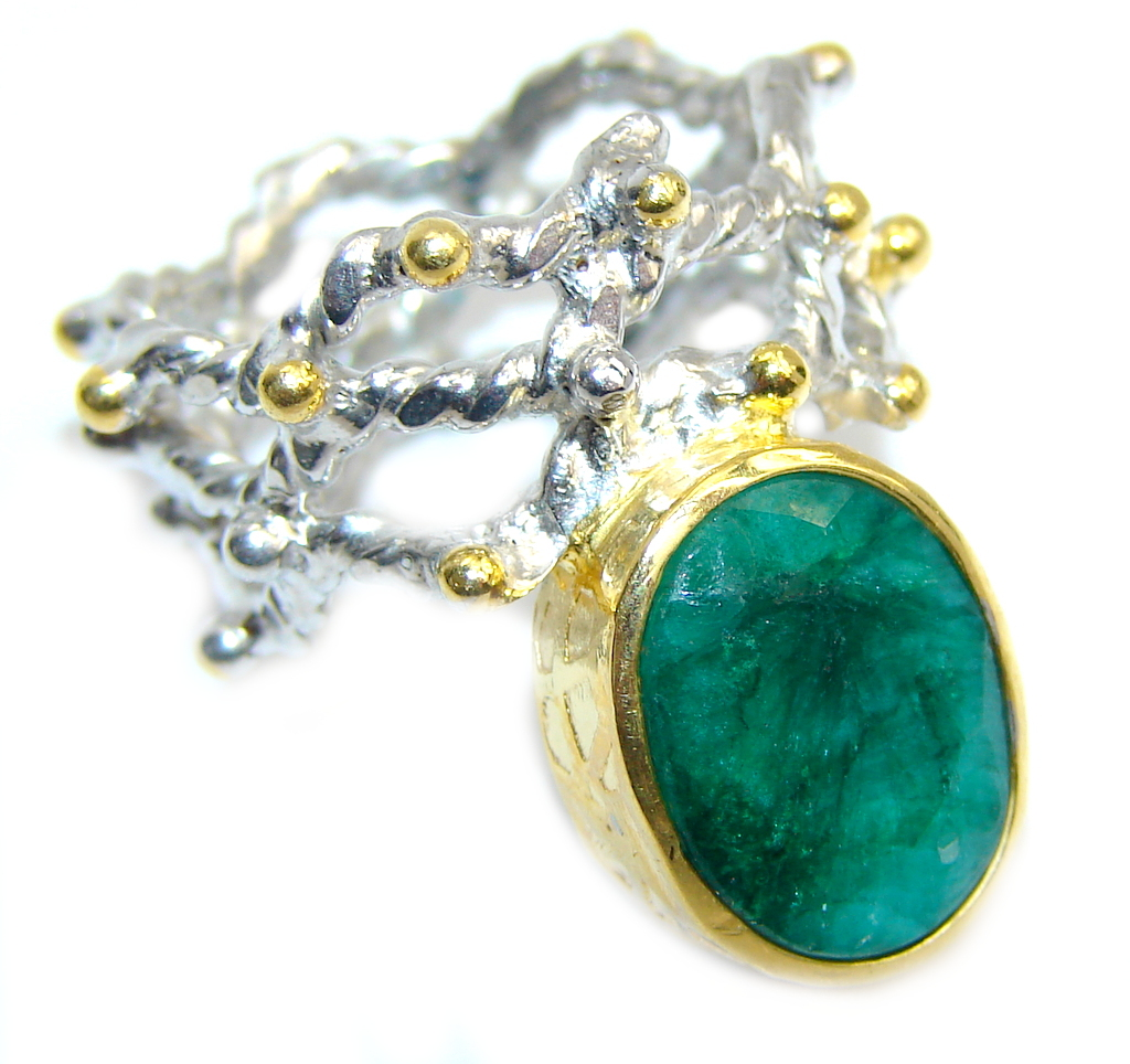 Genuine AAA Green Emerald, Two Tones Sterling Silver Ring s. 6 1/2