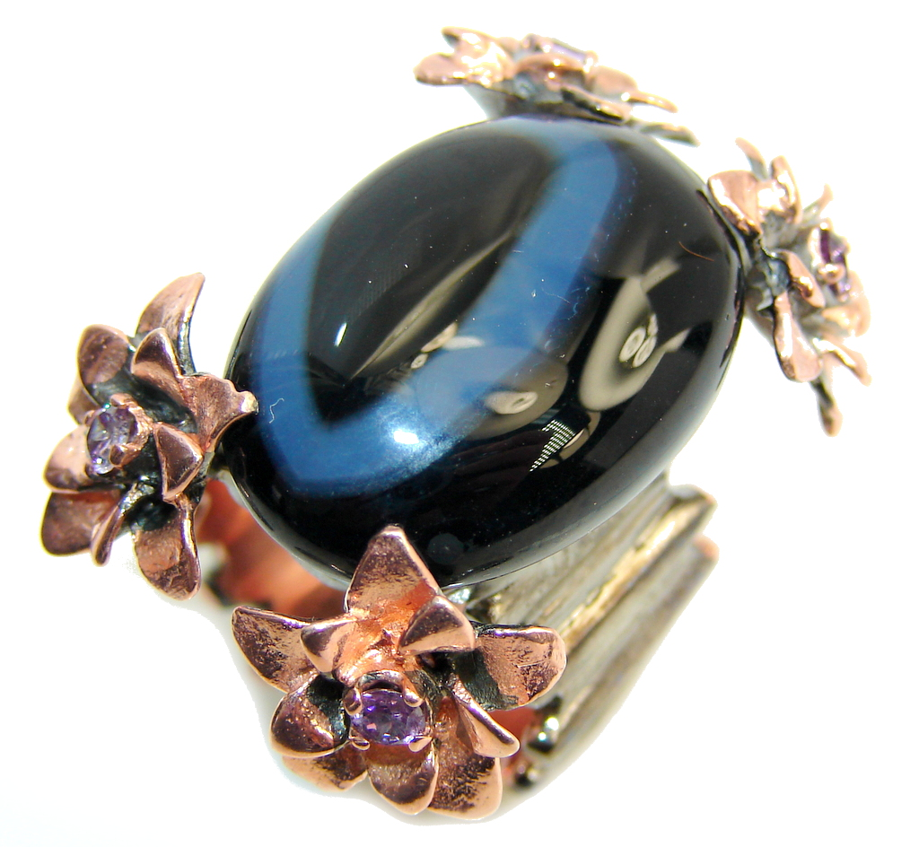 Large! Fabulous Blacjk Agate, Rose Gold Plated, Rhodium Plated Sterling Silv..