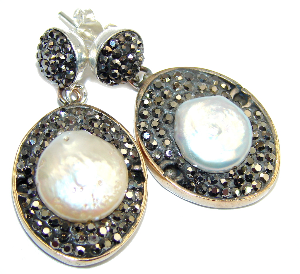 Classic Design! Mother Of Pearl & Marcasite Sterling Silver earrings