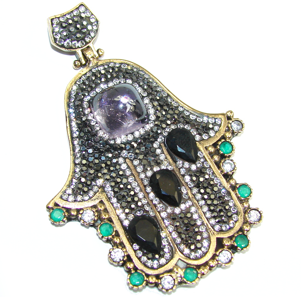 Large! Victorian Style Hamsa Hand Emerald & White Topaz Sterling Silver Pendant