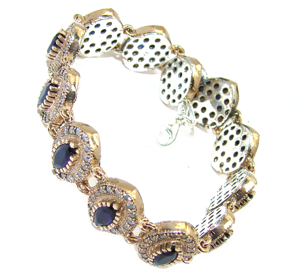 Victorian Style! Created Blue Sapphire & White Topaz Sterling Silver Bracelet