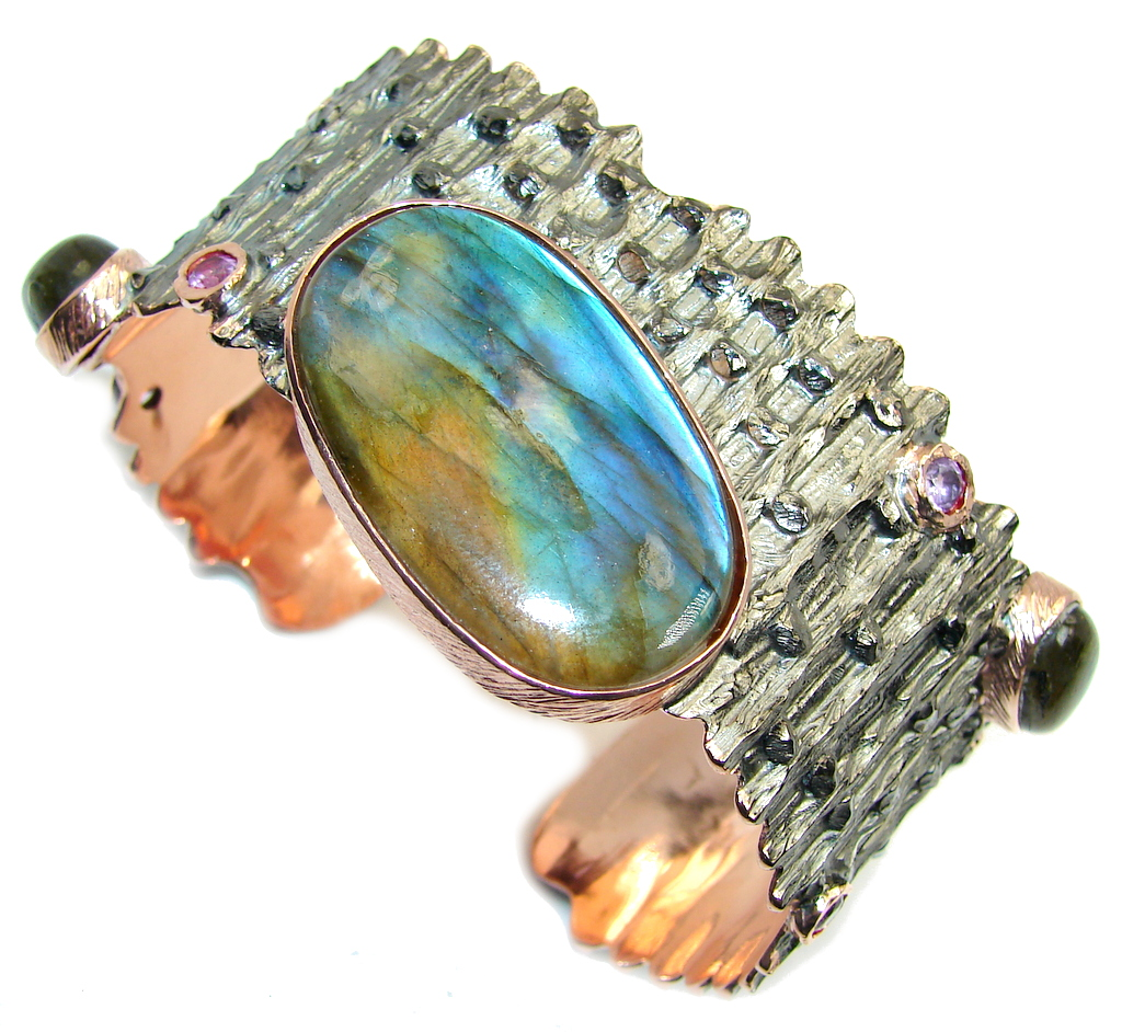 Large! Exclusive Design AAA Blue Labradorite, Rose Gold Plated, Rhodium Plat..