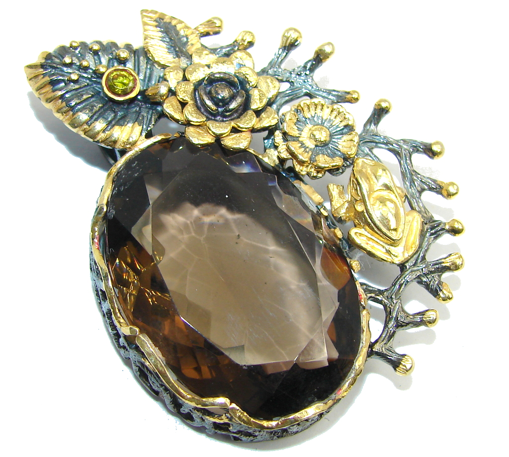 Big! Amazing AAA Brown Smoky Topaz, Gold PLated, Rhodium Plated Sterling Silver Pendant