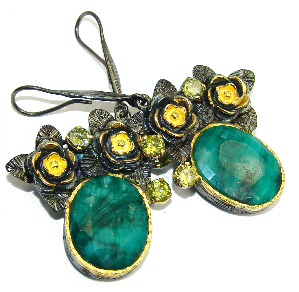 Stunning AAA Emerald, Gold Plated, Rhodium Plated Sterling Silver earrings
