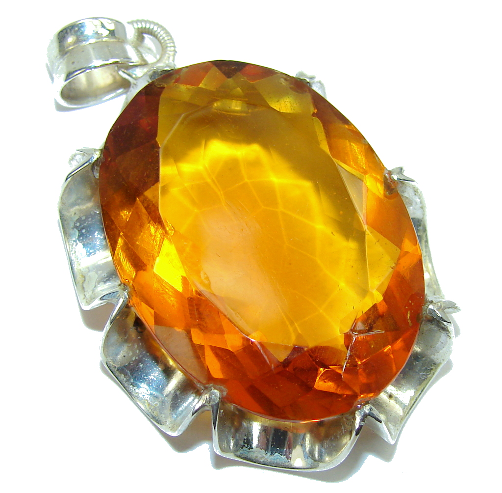 Bali Secret! Golden Topaz Quartz Sterling Silver Pendant