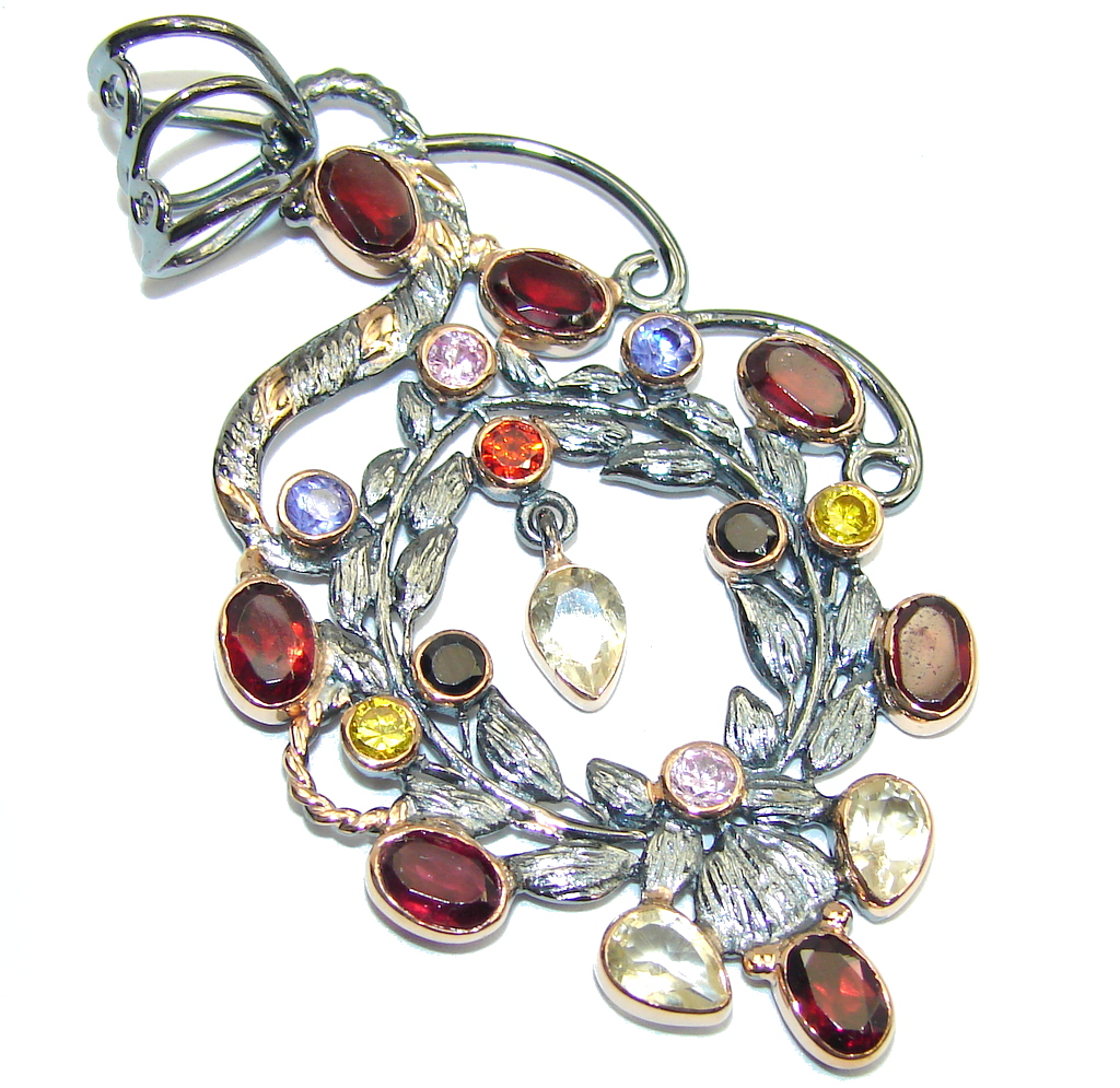 Amazing AAA Garnet & Citrine & Pink Topaz & Tanzanite, Gold Plated, Rhodium Plated Sterling Silver Pendant