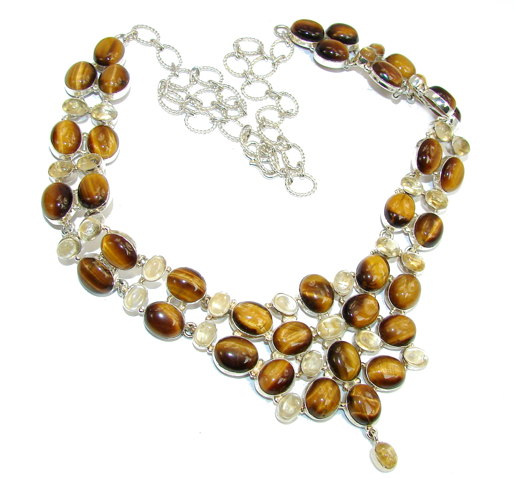 Perfect Gift AAA Tigers Eye & Citrine Sterling Silver Necklace