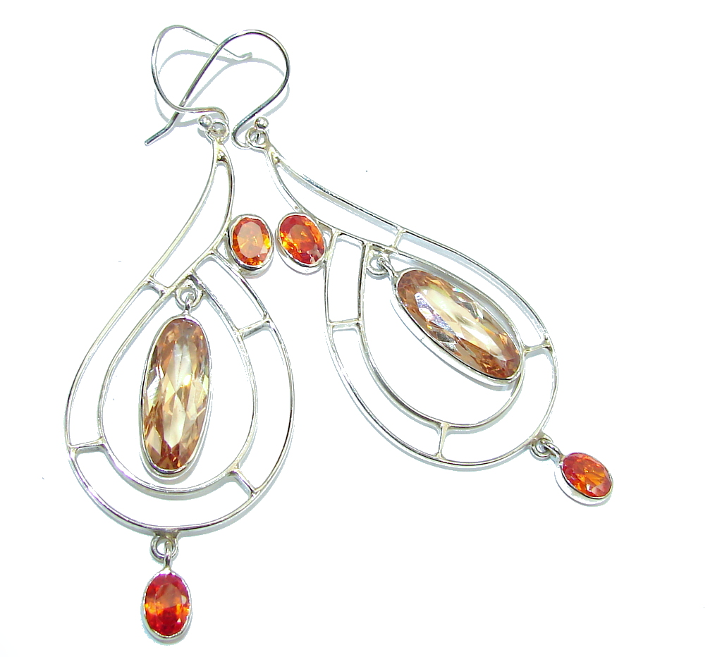 Big! Delicate Golden Topaz Quartz Sterling Silver Earrings