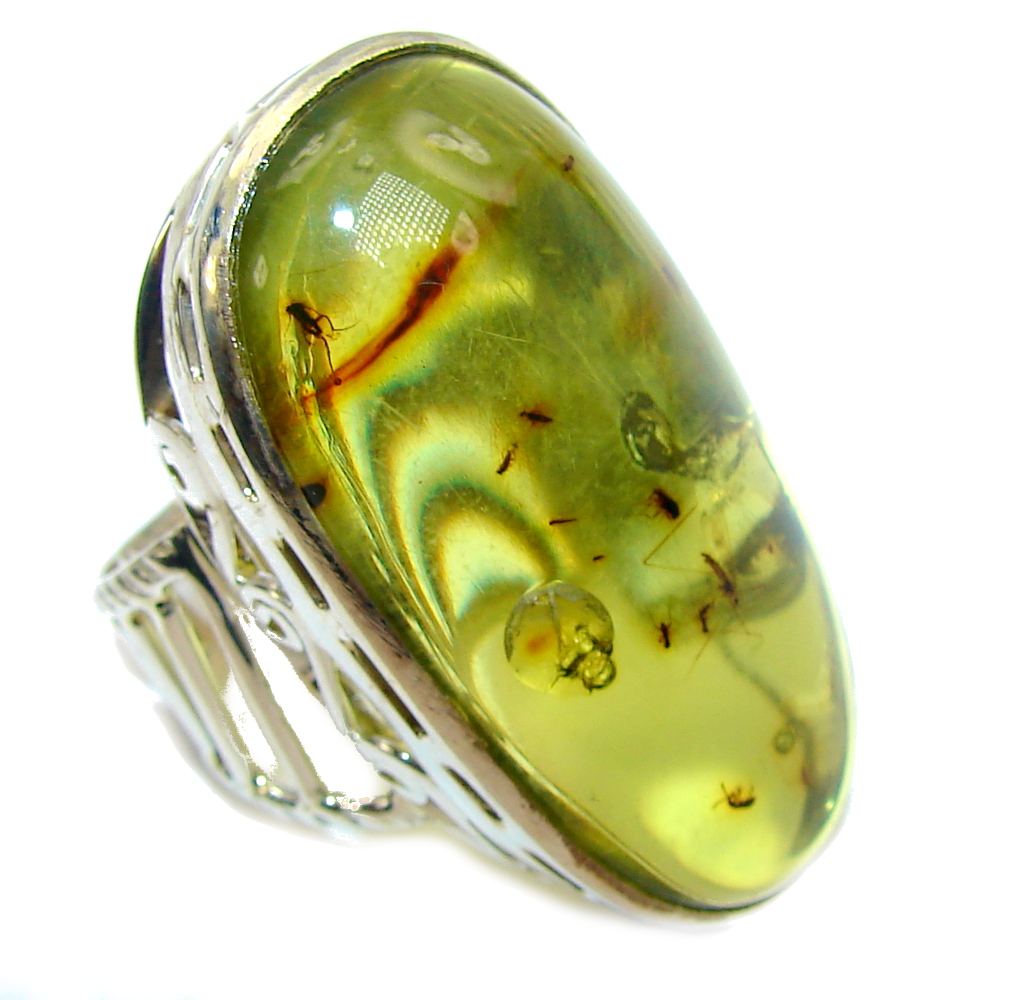 Big! Genuine AAA Green Polish Amber Sterling Silver Ring s. 11 1/2