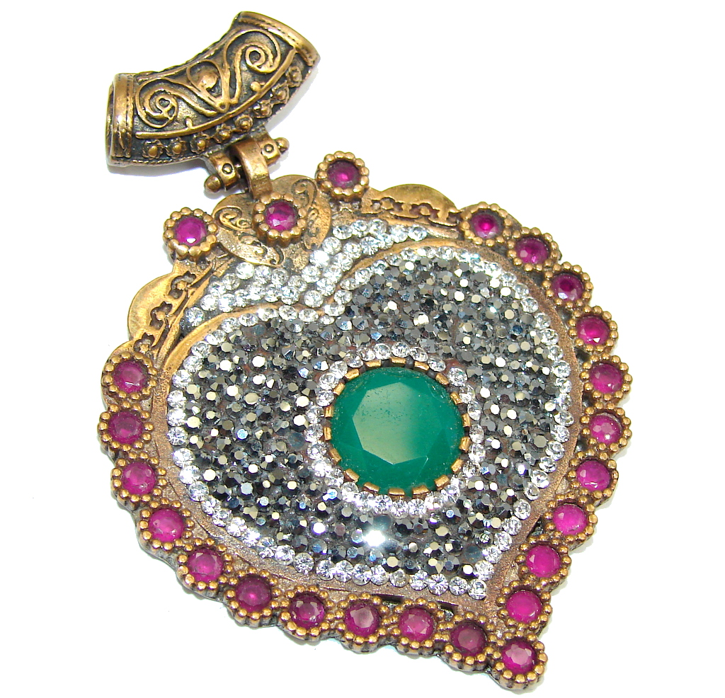 Big! Victorian Style Emerald & Ruby & White Topaz Sterling Silver Pendant