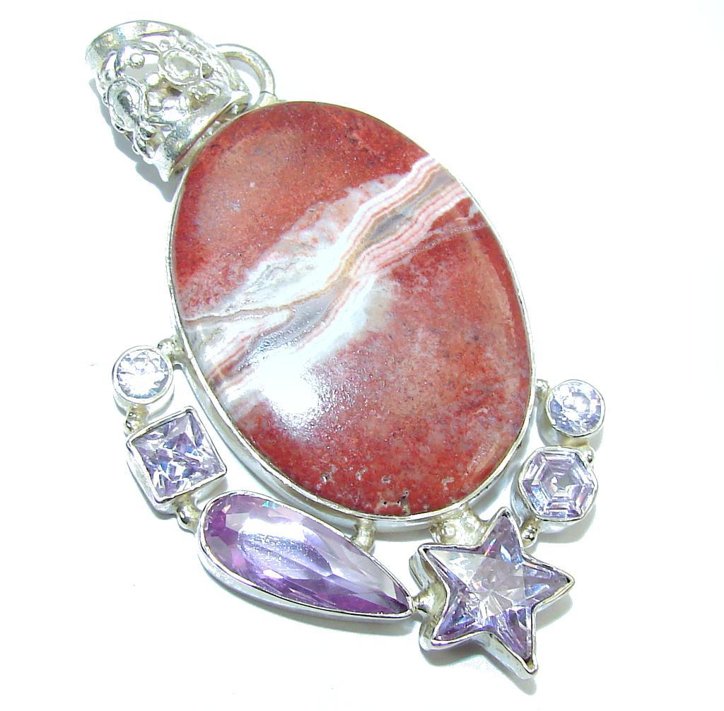 Amazing Pink Rhodochrosite & Lilac Quartz Sterling Silver  Pendant