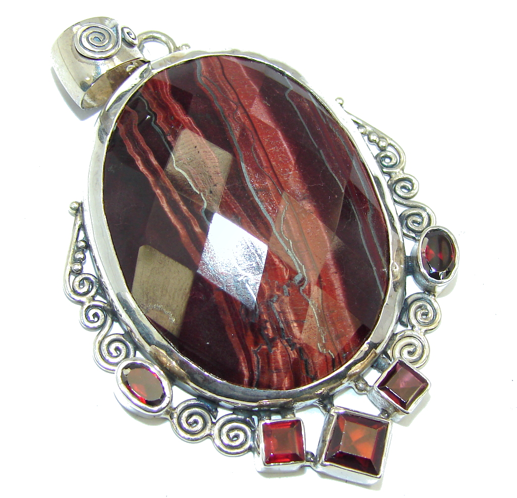 Amazing! Red Dark Tigers Eye & Garnet Sterling Silver Pendant