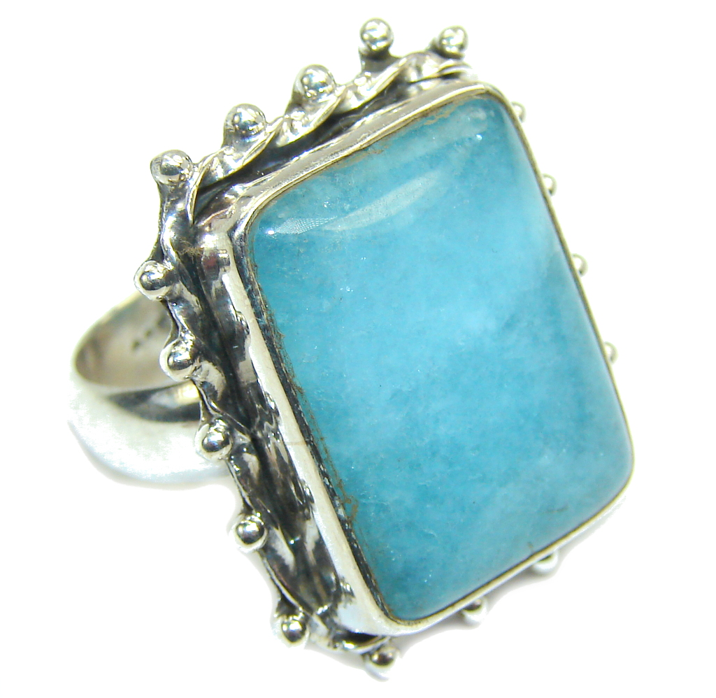 Simple Blue Aquamarine Sterling Silver ring; 7 1/4
