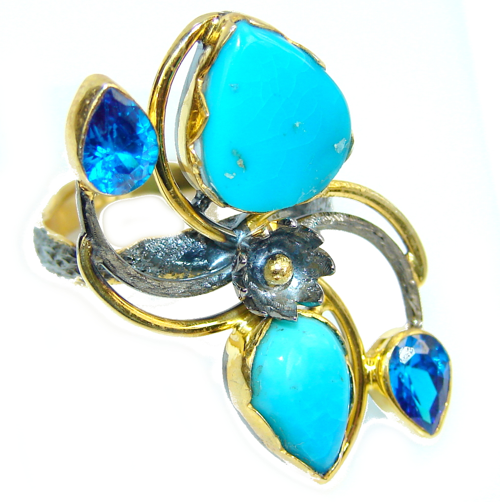 Beautiful Blue Turquoise, Gold Plated, Rhodium Plated Sterling Silver Ring s. 8 1/2
