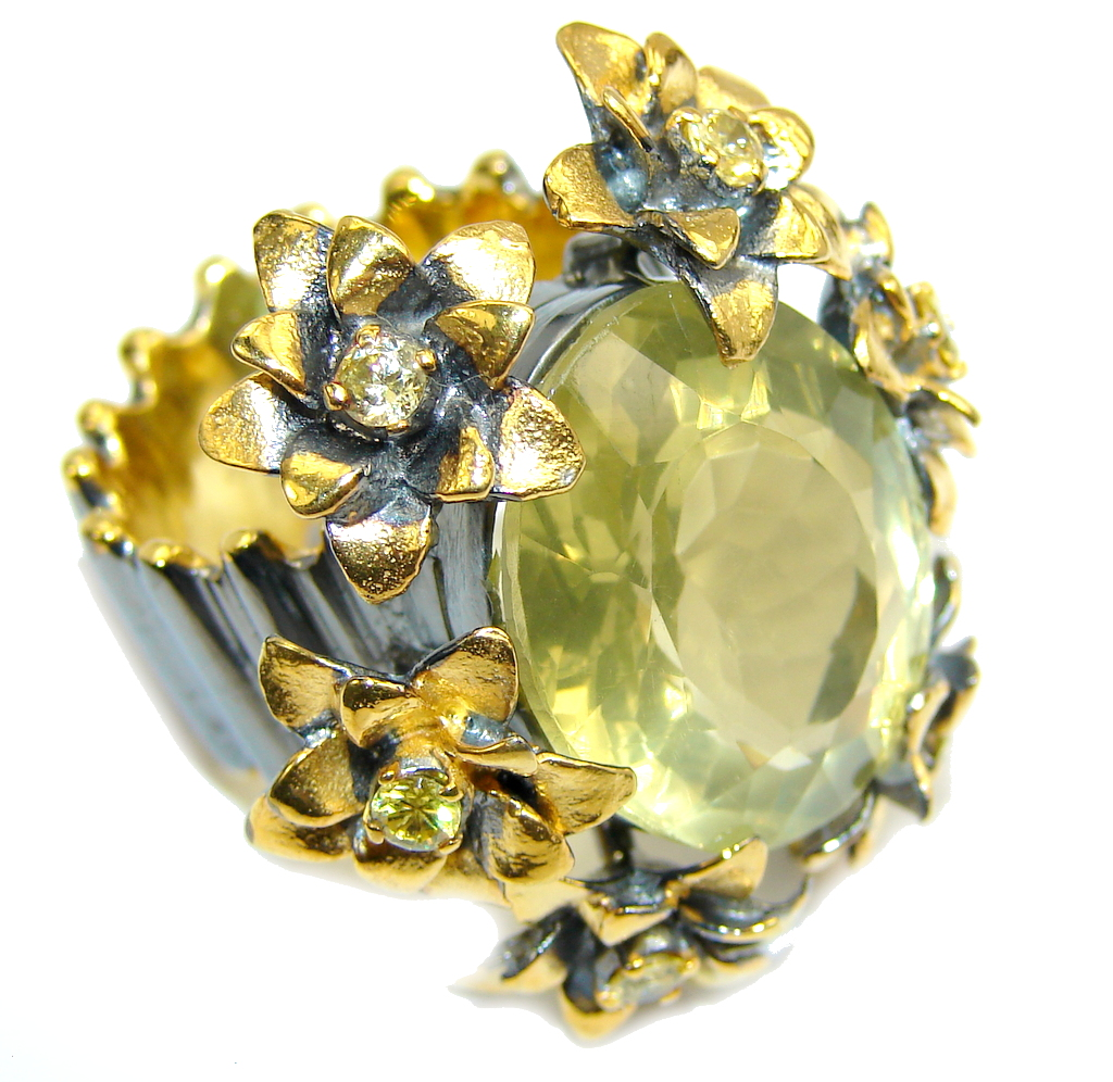 Large! Genuine AAA Citrine, Gold Plated, Rhodium Plated Sterling Silver Ring s. 9 1/4