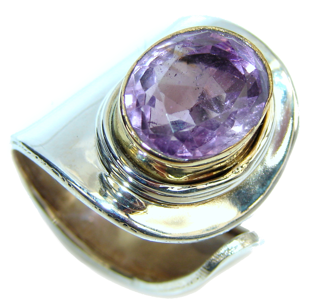 Amazing Style! Purple Amethyst Sterling Silver ring s. 8 - adjustable
