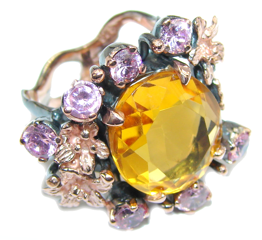 Very Elegant AAA Citrine & Created Pink Sapphire, Rose Gold Plated, Rhodium Plated Sterling Silver Ring s. 7 1/2