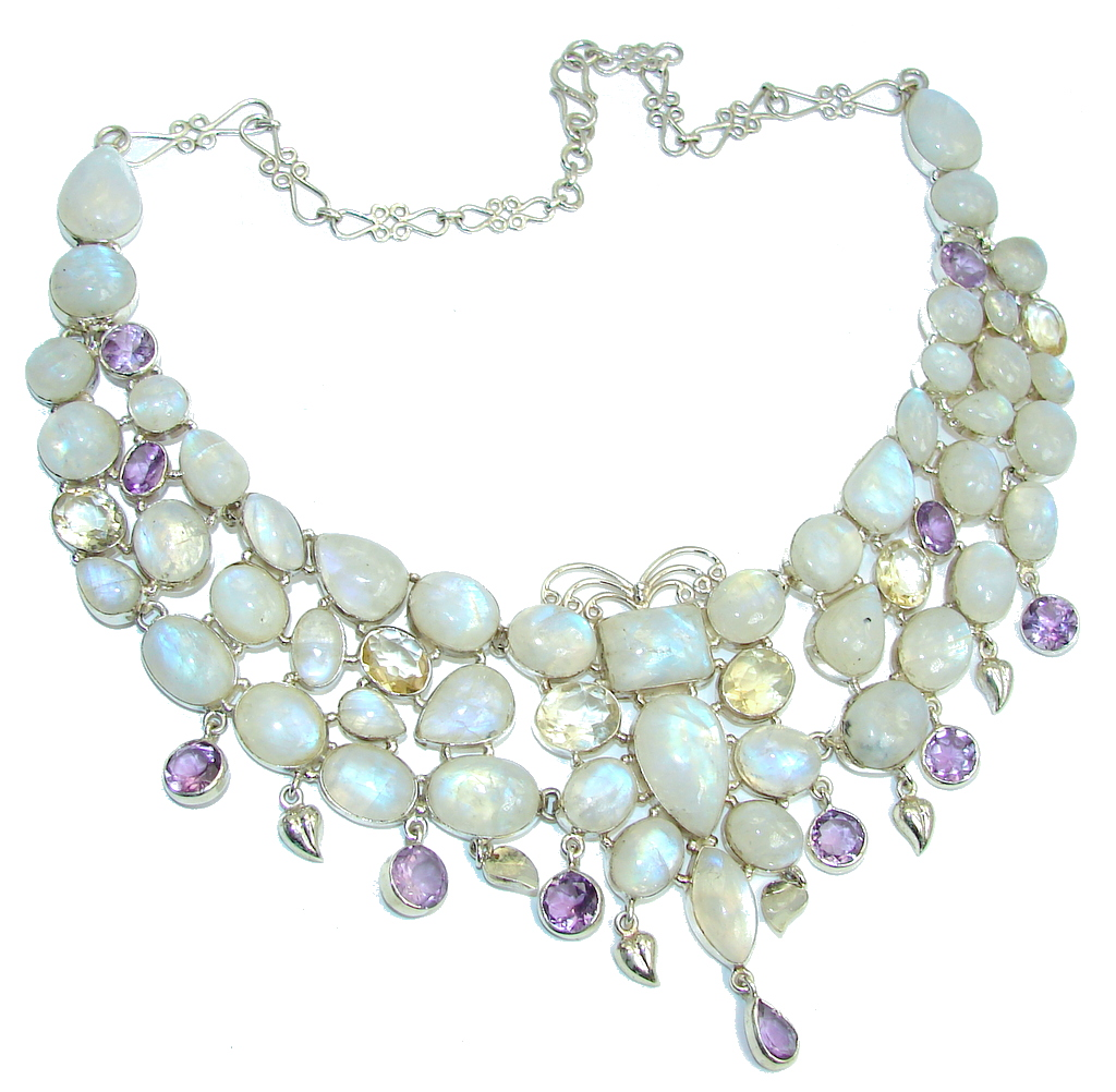 Heavenly Love! AAA White Fire Moonstone & Citrine & Amethyst Sterling Silver necklace