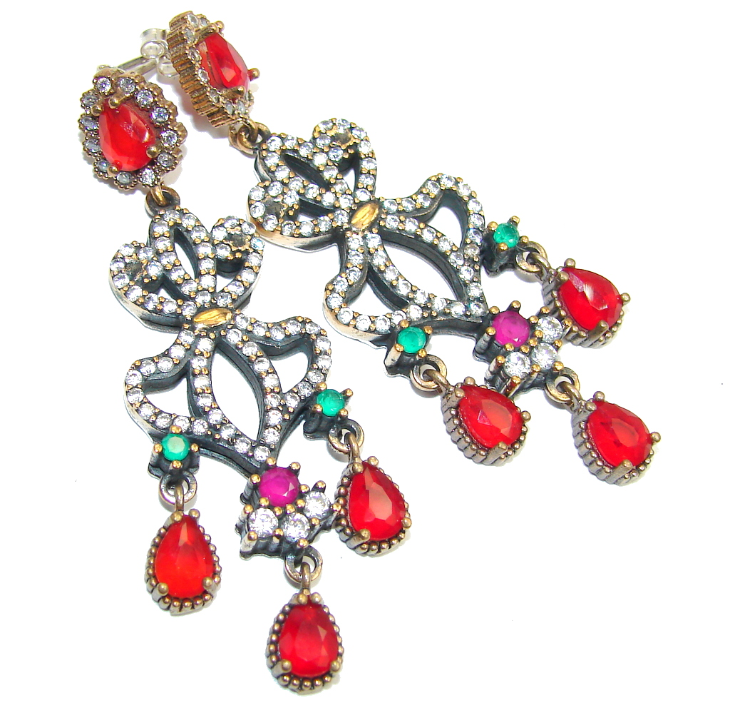 Victorian Style Red Ruby & Emerald & White Topaz Sterling Silver earrings