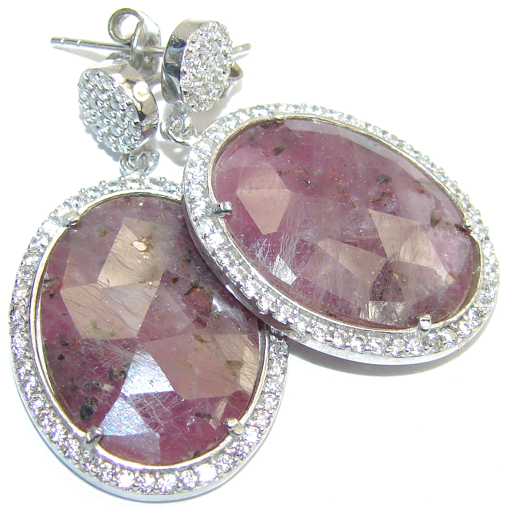 Exclusive Pink Ruby & White Topaz Sterling Silver earrings