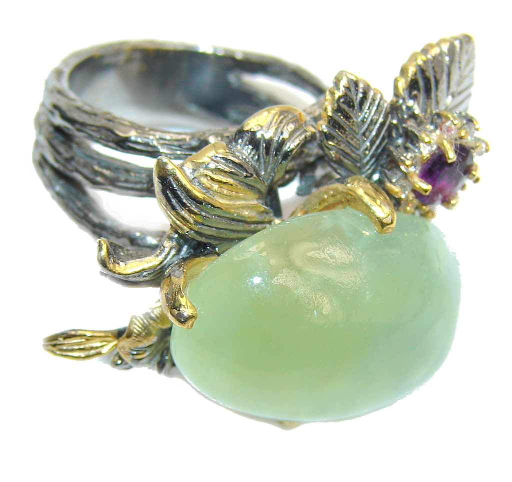 Genuine AAA Green Moss Prehnite, Gold Plated, Rhodium Plated Sterling Silver ring; s. 7 1/4