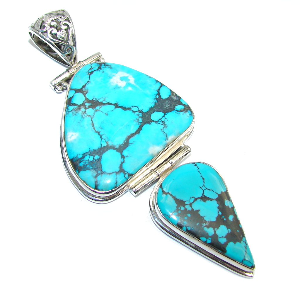 Large! Electric Blue Ithaca Pearl Turquoise With Pyrite Matrix Sterling Silver Pendant