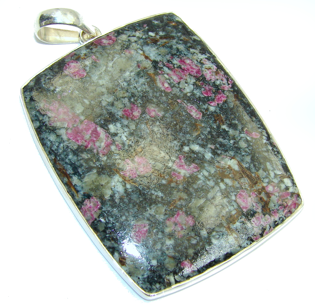 Big! Amazing Russian Eudialyte Sterling Silver Pendant