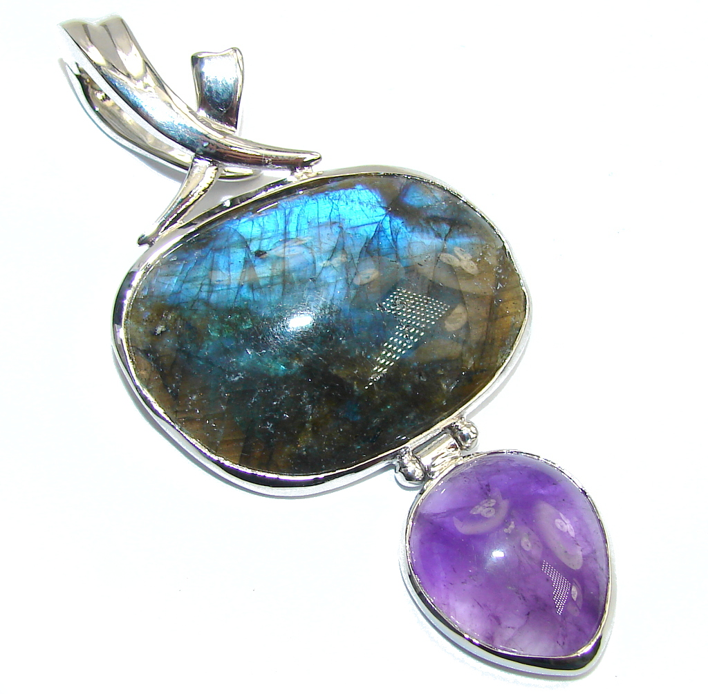 Big! Genuine Blue Fire Labradorite & Amethyst Sterling Silver Pendant
