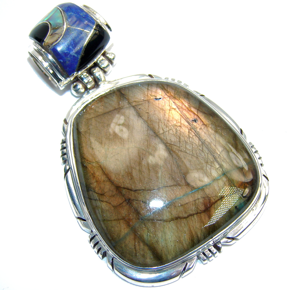 Perfect AAA Blue Fire Labradorite Sterling Silver Pendant