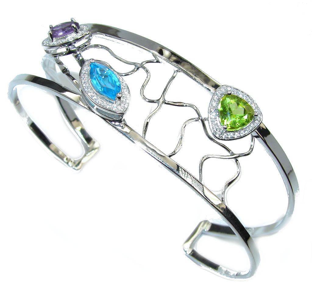 Genuine AAA Peridot, Amethyst, Swiss BlueTopaz Sterling Silver Bracelet / Cuff