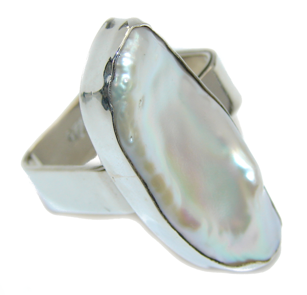 Stylish Rainbow Mother Of Pearl Sterling Silver Ring s. 7