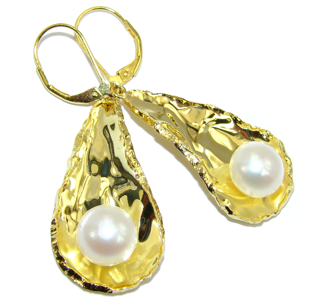 jewelpearl.com Stunning AAA Fresh Water Pearl Gold Plated over Sterling Silver earrings