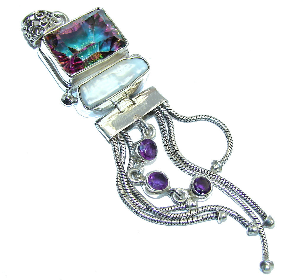 Big! Perfect Rainbow Magic Topaz & Mother Of Pearl & Amethyst Sterling Silver Pendant