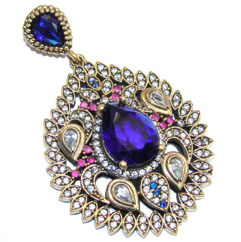 Victorian Style Blue Sapphire & Ruby & White Topaz Sterling Silver Pendant