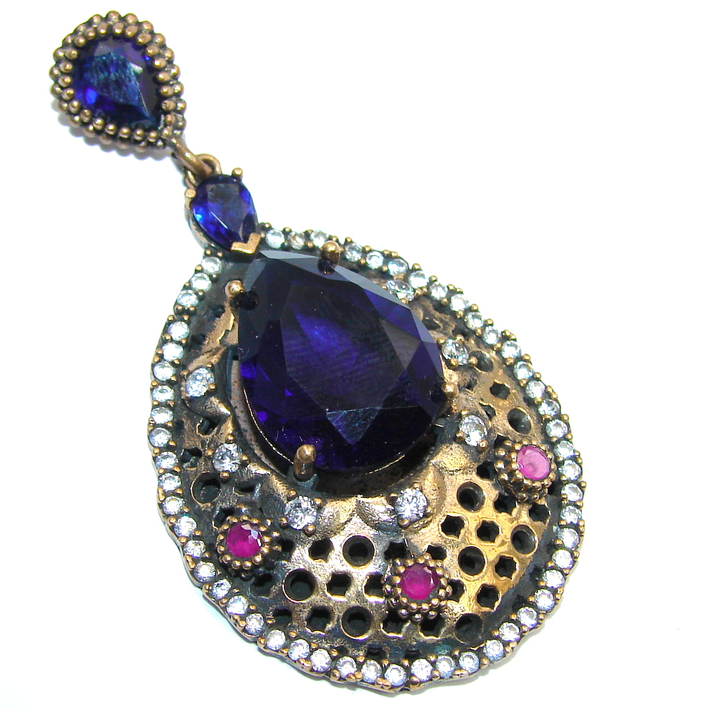 Victorian Style Created Blue Sapphire & Ruby & White Topaz Sterling Silver Pendant