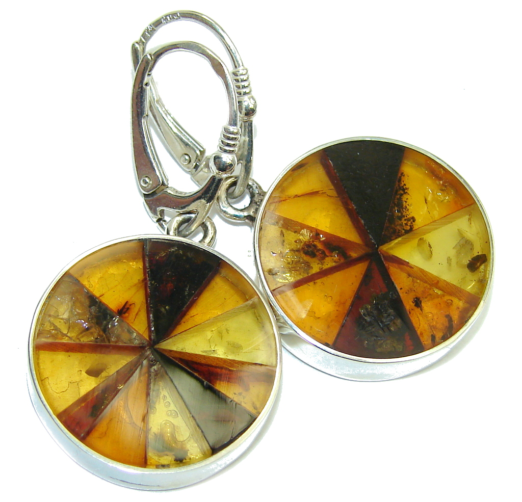 Gorgeous Polish Baltic Amber Handcrafted Mosaic Sterling Silver earrings