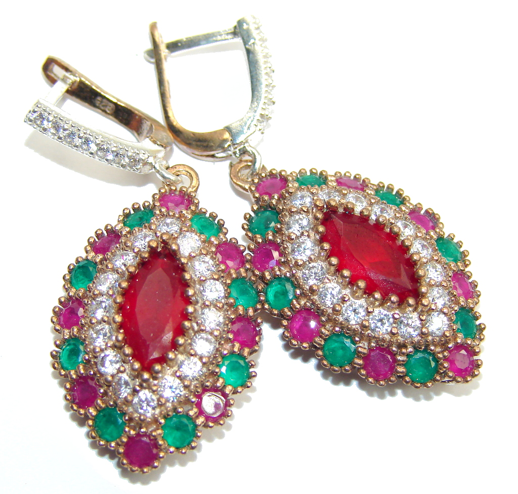 Victorian Style Pink Ruby & Emerald & White Topaz Sterling Silver earrings