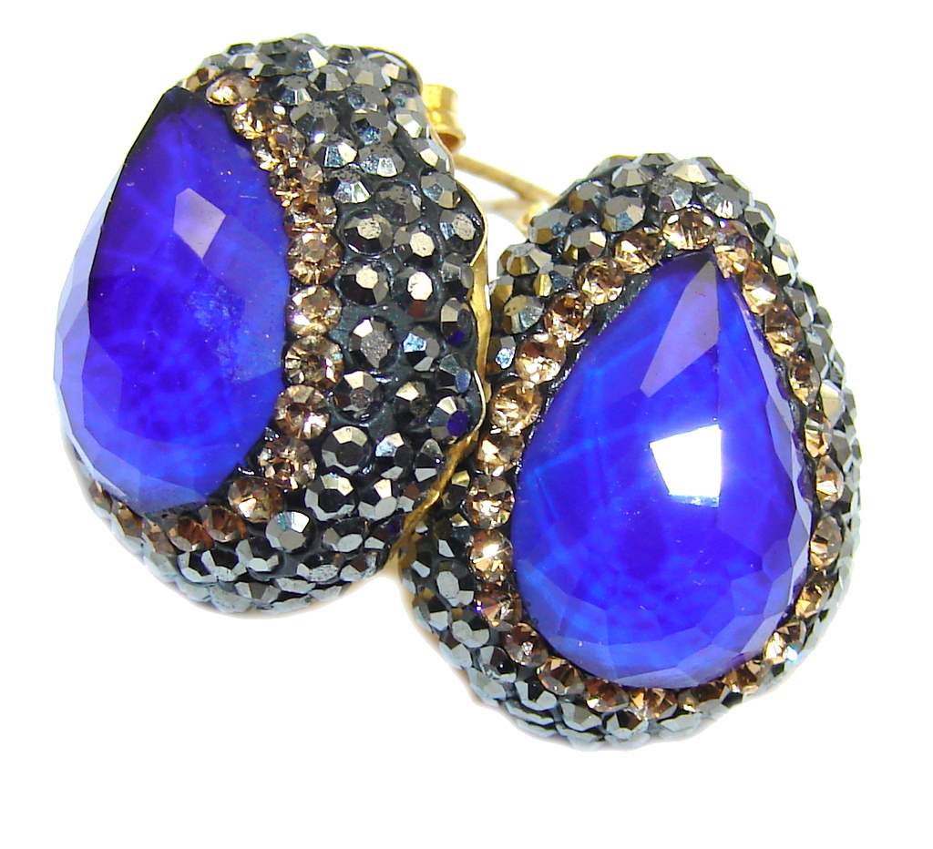 Victorian Style! Created Blue Sapphire & Citrine Sterling Silver earrings