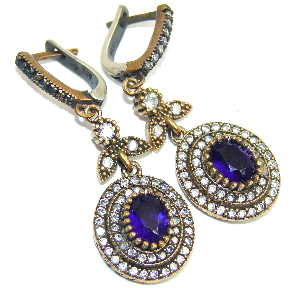 Victorian Style! Created Blue Sapphire & White Topaz Sterling Silver earrings