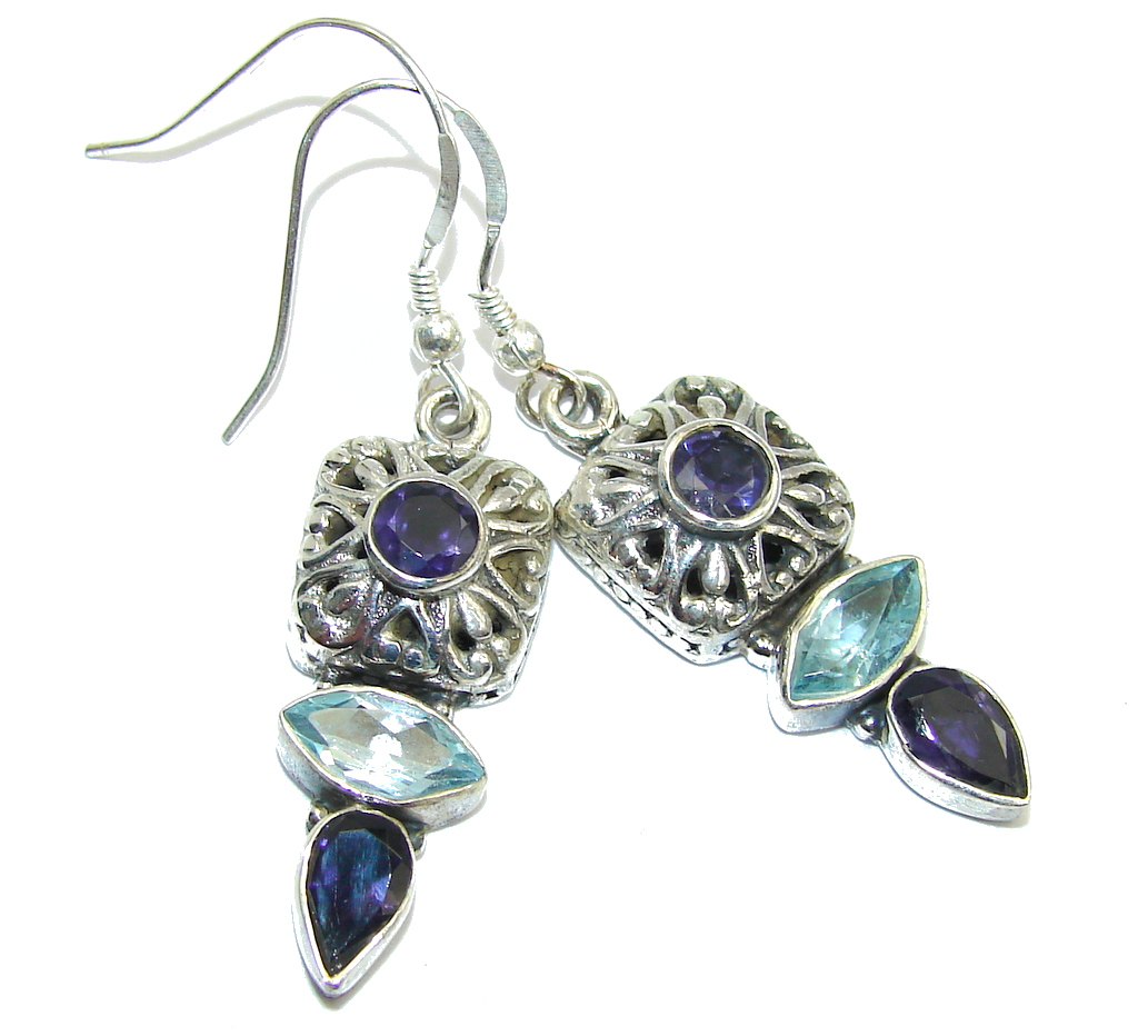 Bali Secret Natural Iolite & Swiss Blue Topaz Sterling Silver earrings