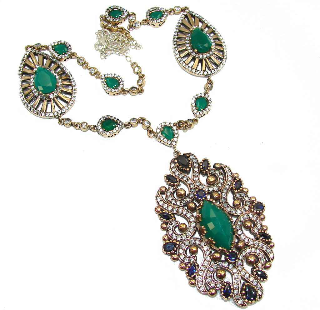 Big! Victorian Style Green Emerald & Sapphire & White Topaz Sterling Silver necklace