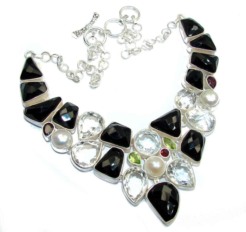 Black Whisper Black Onyx & White Topaz Sterling Silver necklace