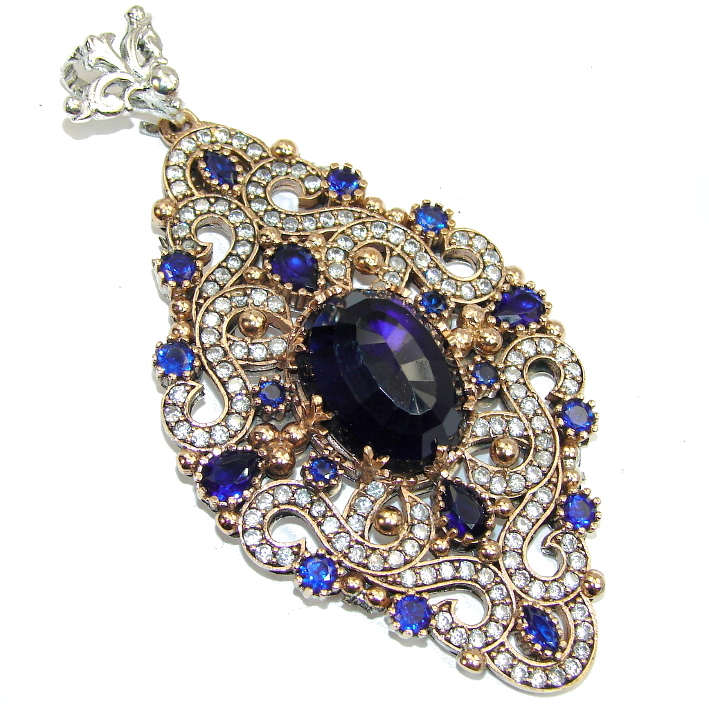 Large! Victorian Style Created Blue Sapphire & White Topaz Sterling Silver Pendant