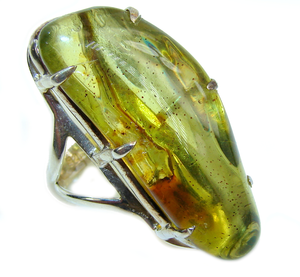Big! Genuine AAA Green Polish Amber Sterling Silver Ring s. 6 1/2