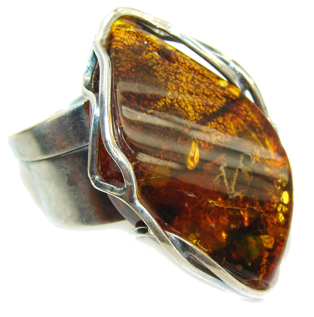 Big! Natural AAA Brown Polish Amber Sterling Silver Ring s. 7- adjustable