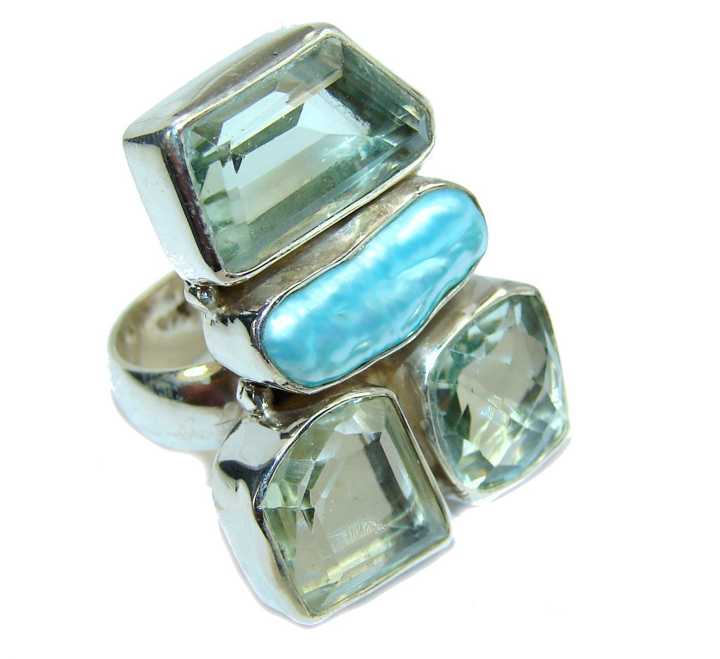 Stylish Light Blue Mother Of Pearl Sterling Silver Ring s. 7 1/4