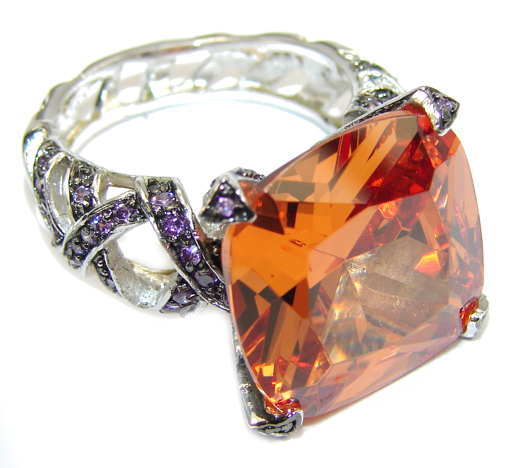 Big! Amazing Created Honey Topaz Sterling Silver ring s. 10