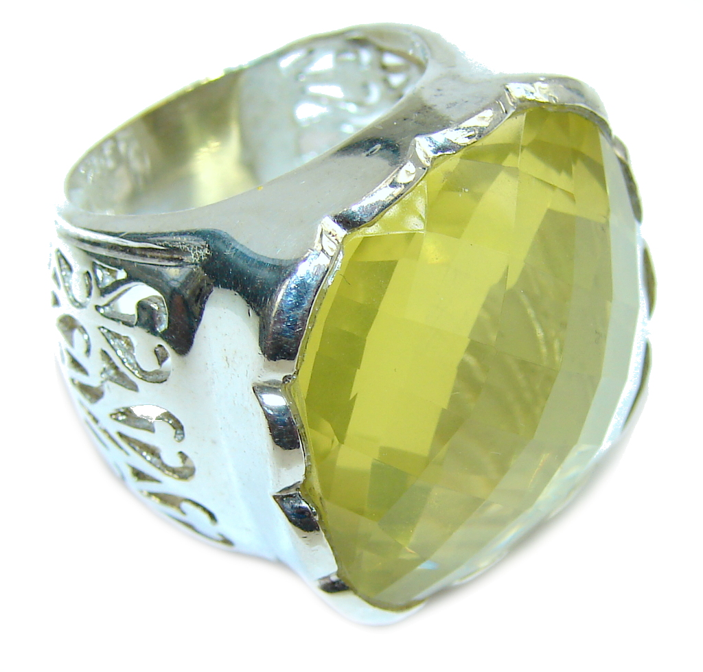 Big! Summer Yellow Citrine Sterling Silver Ring s. 8 1/2