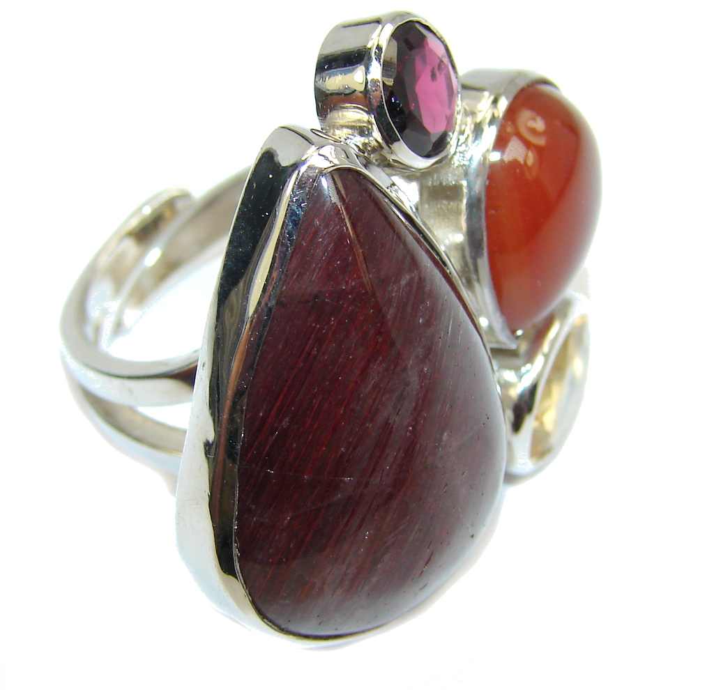 Pale Beauty Untreated Ruby Sterling Silver ring s. 8 - adjustable